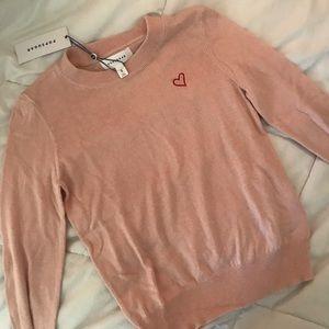 Sweaters - Light Pink Heart Sweater